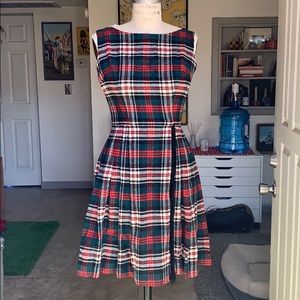 Vintage Tartan Plaid Fitted Circle Skirt Mini Dres